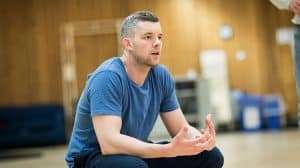 Russell Tovey rehearsing Angels in America (c) Helen Maybanks