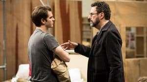 Andrew Garfield talks to writer Tony Kushner Angels In America (c) Helen Maybanks