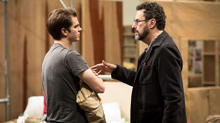 Andrew Garfield talks to writer Tony Kushner Angels In America (c) Helen Maybanks | In rehearsal: Angels in America
