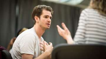 Andrew Garfield rehearsing Angels In America at the National Theatre (c) Helen Maybanks