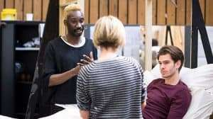 Nathan Stewart-Jarrett and Andrew Garfield rehearse Angels in America with director Marianne Eliott