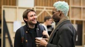 James McArdle and Nathan Stewart-Jarrett rehearse Angels in America (c) Helen Maybanks
