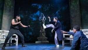 Mark Ebulué, David Tennant, David Jonsson in Don Juan in Soho, Wyndham's Theatre, London