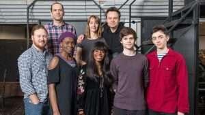 Back Row (left to right) James Howard (Draco Malfoy), Emma Lowndes (Ginny Potter), Jamie Glover (Harry Potter)Front Row(left to right) Thomas Aldridge (Ron Weasley), Rakie Ayola (Hermione Granger), Helen Aluko (Rose Granger-Weasley), Theo Ancient (Albus Potter), Samuel Blenkin (Scorpius Malfoy)