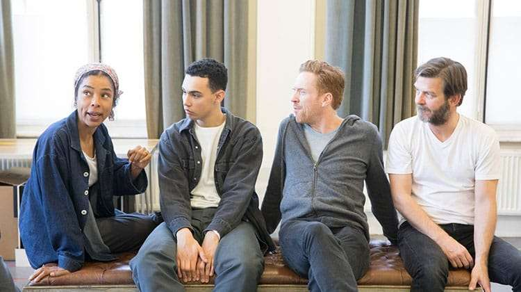 The Goat, Or Who Is Sylvia? - Sophie Okonedo, Archie Madekwe, Damian Lewis, Jason Hughes.  Credit Johan Persson | In rehearsal: Damian Lewis & Sophie Okonedo in The Goat, Or Who is Sylvia?