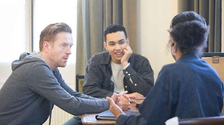 The Goat, Or Who Is Sylvia? - Sophie Okonedo, Archie Madekwe, Damian Lewis.  Credit Johan Persson | In rehearsal: Damian Lewis & Sophie Okonedo in The Goat, Or Who is Sylvia?