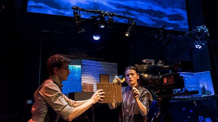 Sam Clark and Samantha Arends (Puppeteers and Devisors) and Hilda, The Missing Light at The Old Vic.