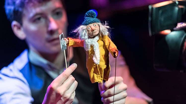 Sam Clark (Puppeteer) and Hilda, The Missing Light at The Old Vic.