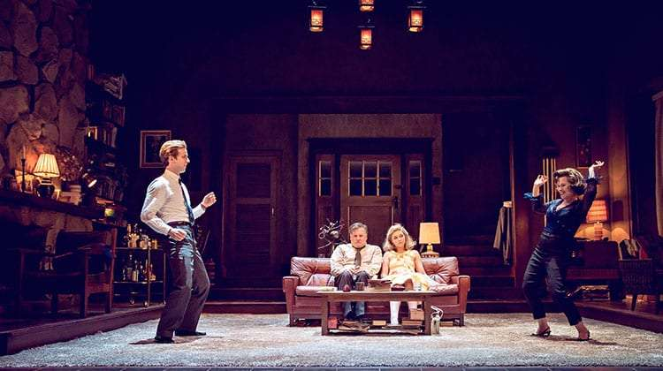 Imelda Staunton and Luke Treadaway dance in Who's Afraid of Virginia Woolf? at Harold Pinter Theatre, London