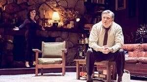 Conleth Hill & Imelda Staunton arguing in Edward Albee's Who's Afraid of Virginia Woolf? at Harold Pinter Theatre, London