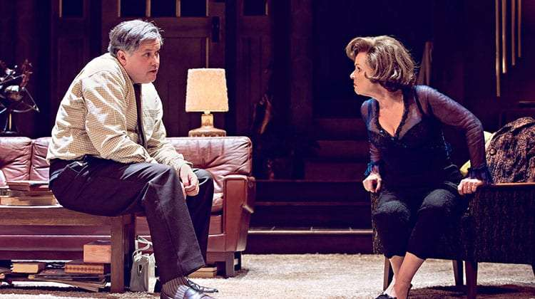 Conleth Hill & Imelda Staunton arguing in Edward Albee's Who's Afraid of Virginia Woolf? at Harold Pinter Theatre, London