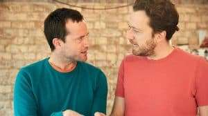 Jonathan Forbes & Jez Bond (director) in rehearsal for Madame Rubinstein.