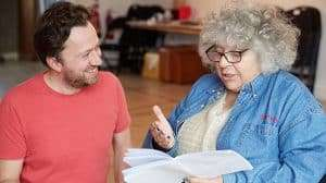 Jez Bond (director) & Miriam Margolyes in rehearsal for Madame Rubinstein. (c)Mark Douet