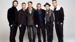 Gary Barlow, Howard Donald, Mark Owen, Robbie Williams,David Pugh & Dafydd Rogers promoting new Take That musical The Band