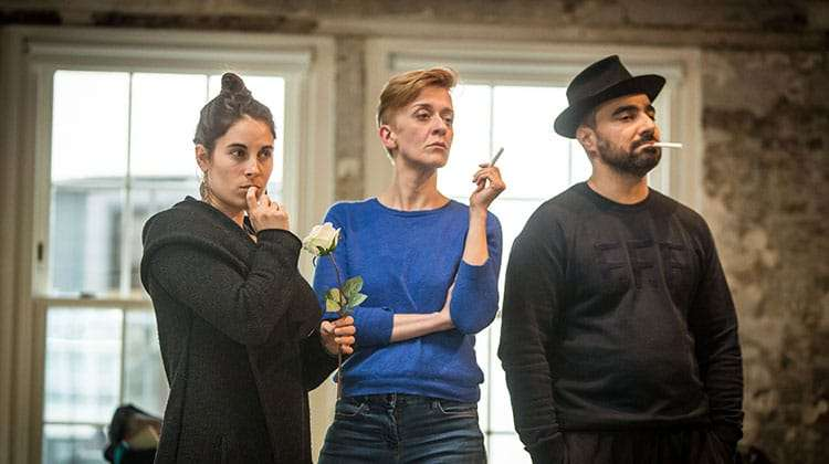 Lucy Eaton, Lucy Ellinson and Guy Rhys in rehearsal for The Resistible Rise of Arturo Ui at the Donmar Warehouse.
