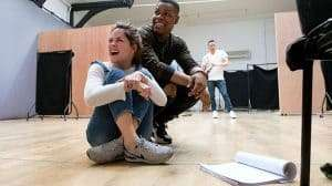John Boyega & Sarah Greene in rehearsals for Woyzeck at the Old Vic Theatre.