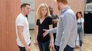 Ben Batt, Nancy Carroll & Joe Murphy (Director) in rehearsals for Woyzeck at the Old Vic Theatre