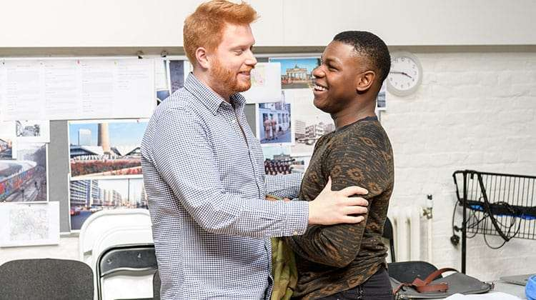 Joe Murphy (Director) & John Boyega in rehearsals for Woyzeck at the Old Vic Theatre.