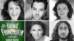 Young Frankenstein cast - Hadley Fraser, Ross Noble, Summer Strallen, Lesley Joseph, Diane Pilkington