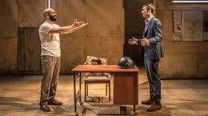 Vangelis Christodoulou & Henry Lloyd-Hughes in Occupational Hazards at Hampstead Theatre.