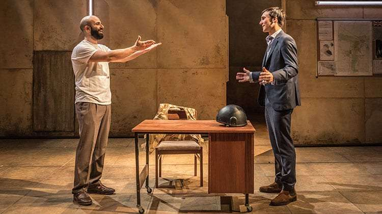 Vangelis Christodoulou & Henry Lloyd-Hughes in Occupational Hazards at Hampstead Theatre.