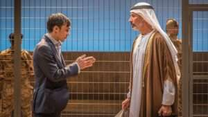 Henry Lloyd-Hughes & Silas Carson in Occupational Hazards at Hampstead Theatre.