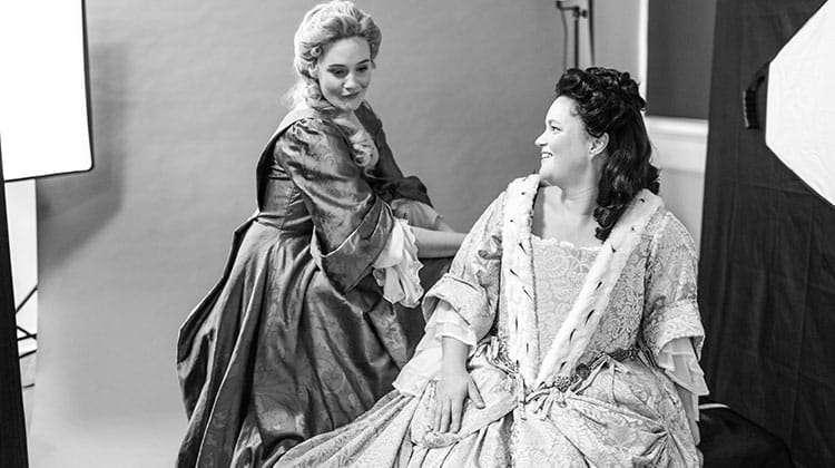 Romola Garai and Emma Cunniffe. Photo by Marco Giovannini. | In pictures: Romola Garai &Emma Cunnife in Queen Anne