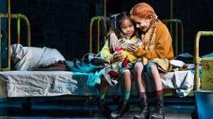 Nicole Subebe (Molly) and Ruby Stokes (Annie) in Annie at the Piccadilly Theatre