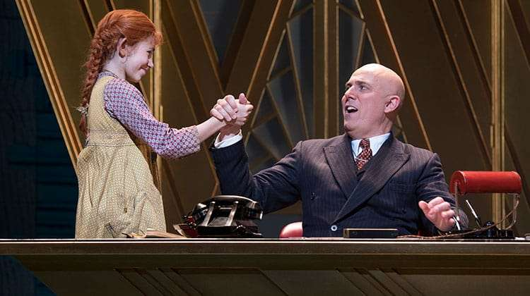 Ruby Stokes & Alex Bourne  in Annie (Piccadilly Theatre ). Photo Paul Coltas | First Look: Miranda Hart in Annie