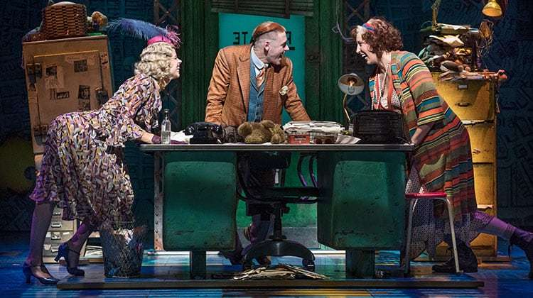 Djalenga Scott (Lily), Jonny Fines (Rooster) & Miranda Hart in Annie (Piccadilly Theatre ). Photo Paul Coltas
