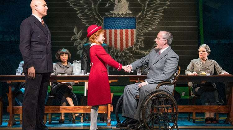 Alex Bourne, Ruby Stokes, Russell Wilcox in Annie (Piccadilly Theatre ). Photo Paul Coltas