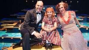 Alex Bourne, Ruby Stokes & Miranda Hart - Opening night of Annie - Photo Craig Sugden