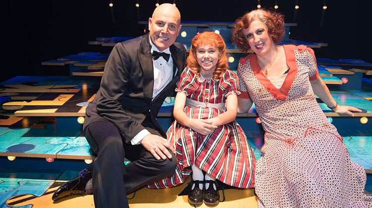 Alex Bourne, Ruby Stokes & Miranda Hart - Opening night of Annie - Photo Craig Sugden