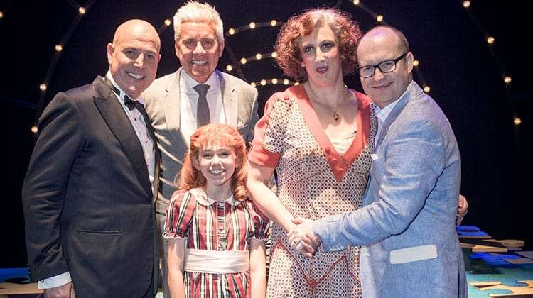 Alex Bourne, David Ian, Ruby Stokes, Miranda Hart & Michael Harrison - opening night of Annie at the Piccadilly Theatre.