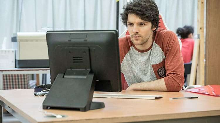 Colin Morgan in Gloria at Hampstead Theatre, photo by Marc Brenner | In rehearsal: Merlin's Colin Morgan in Gloria
