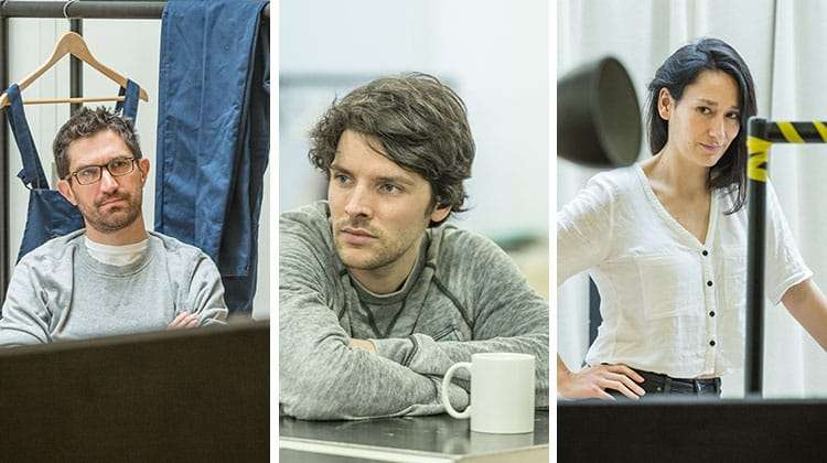 Bo Proaj, Coling Morgan & Sian Clifford in rehearsal for Gloria at Hampstead Theatre, photo by Marc Brenner