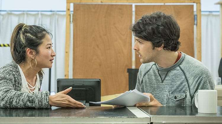 Kay Alexander and Colin Morgan in Gloria at Hampstead Theatre, photo by Marc Brenner | In rehearsal: Merlin's Colin Morgan in Gloria