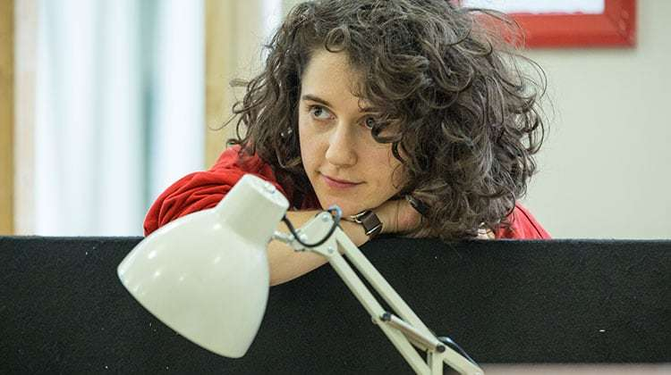Ellie Kendrick in Gloria at Hampstead Theatre, photo by Marc Brenner | In rehearsal: Merlin's Colin Morgan in Gloria