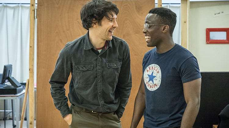 Colin Morgan and Bayo Gbadamosi in Gloria at Hampstead Theatre