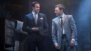 Bertie Carvel (Rupert Murdoch) & Richard Coyle (Larry Lamb) in Ink, Almeida Theatre