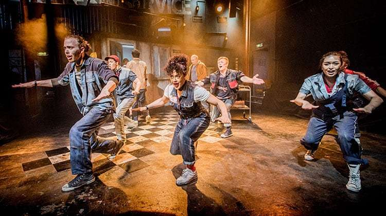 Huon Mackley, Izuka Hoyle & Nicola Espallardo in WORKING at Southwark Playhouse
