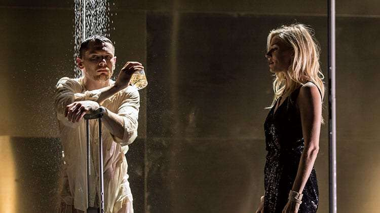 Jack O'Connell & Sienna Miller, shower scene in Cat on a Hot Tin Roof at Apollo Theatre, London