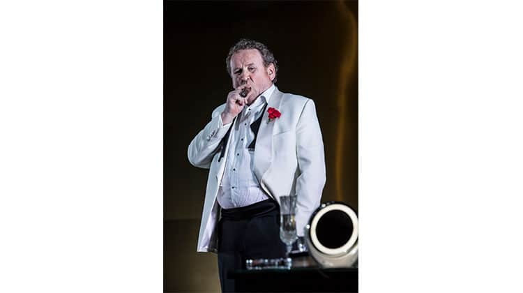 Colm Meaney smoking cigar in Cat on a Hot Tin Roof at Apollo Theatre, London