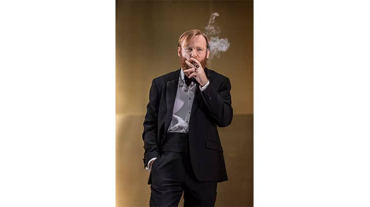 Brian Gleeson smoking in Cat on a Hot Tin Roof at Apollo Theatre, London