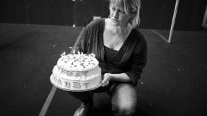 Lisa Palfrey in rehearsal for Cat on a Hot Tin Roof.