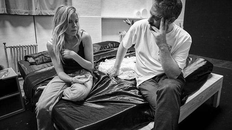 Sienna Miller and Benedict Andrews in rehearsal for Cat on a Hot Tin Roof. Apollo Theatre, London