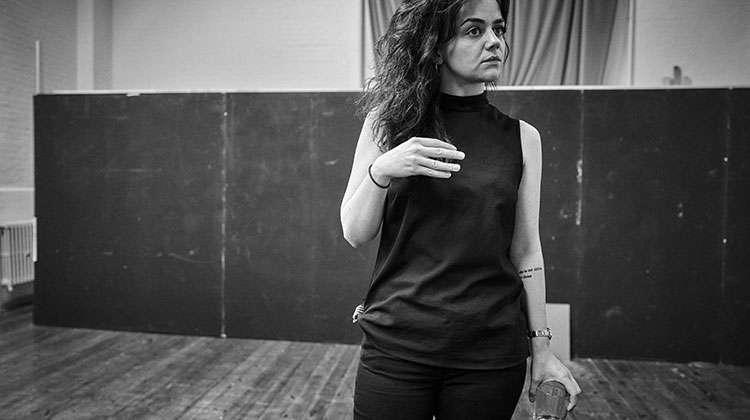 Hayley Squires in rehearsal for Cat on a Hot Tin Roof. Apollo Theatre, London