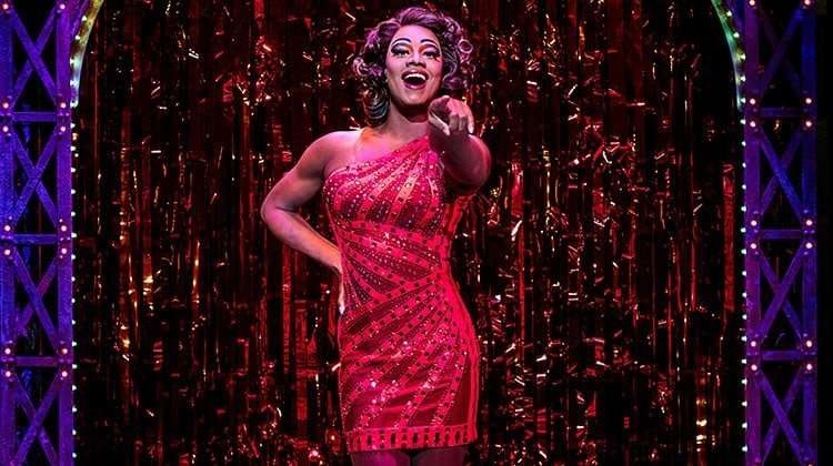 Simon-Anthony Rhoden as Lola in Kinky Boots at the Adelphi Theatre, photo by Darren Bell