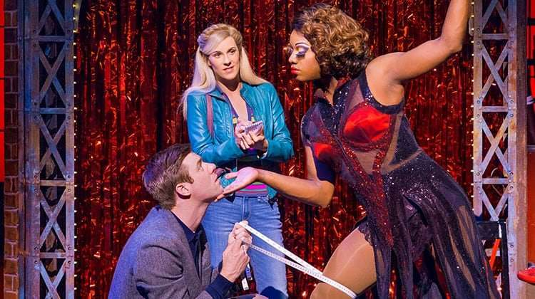 David Hunter, Simon-Anthony Rhoden & Verity Rushworth in Kinky Boots at the Adelphi Theatre, photo by Darren Bell