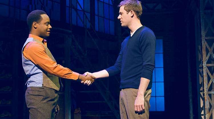 David Hunter & Simon-Anthony Rhoden in Kinky Boots at the Adelphi Theatre, photo by Darren Bell